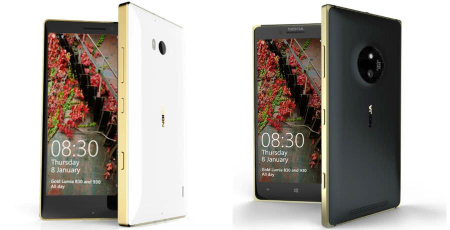 Золотые версии Microsoft Lumia 830 и 930
