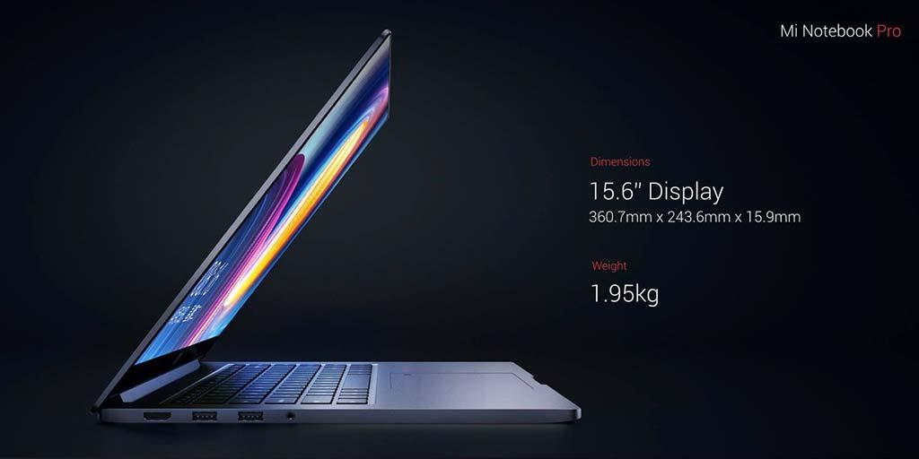 Мощный ноутбук Xiaomi Mi Notebook Pro: диагональ экрана и вес