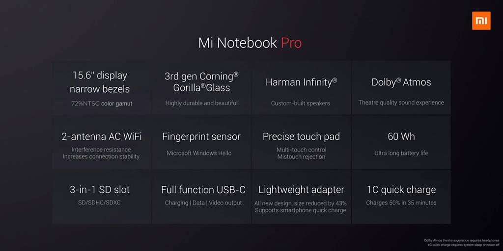 Характеристики Xiaomi Mi Notebook Pro