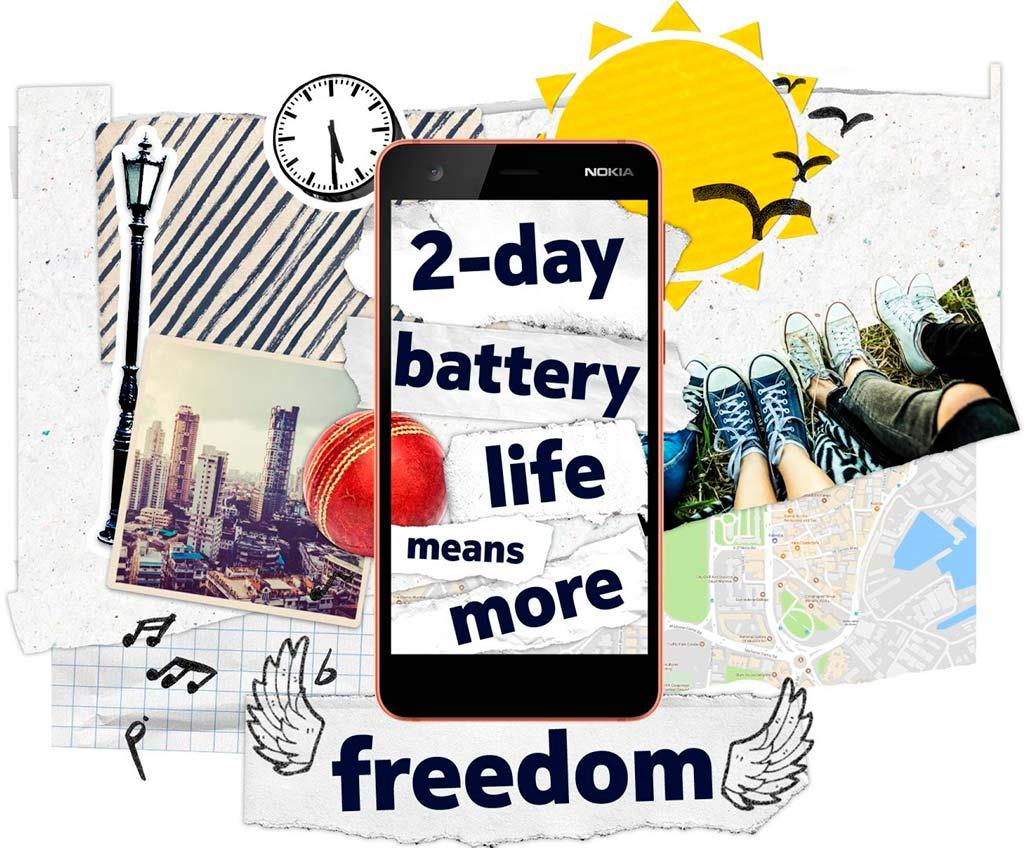 Батарея Nokia 2 держит 2 дня без подзарядки