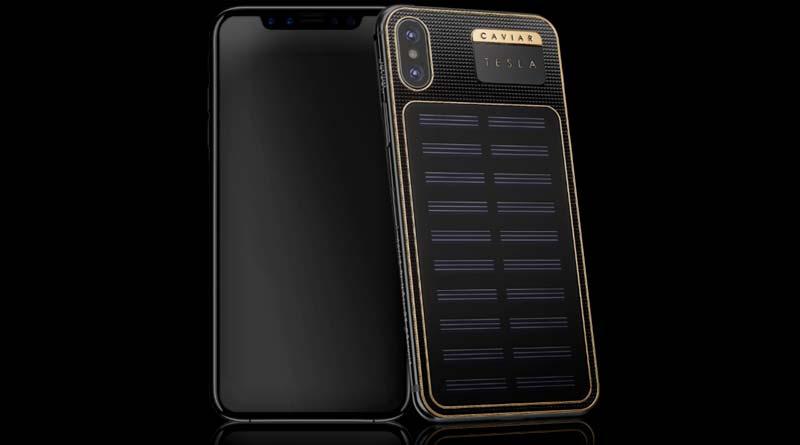 Новый Android iPhone X Tesla с солнечной батареей от Caviar