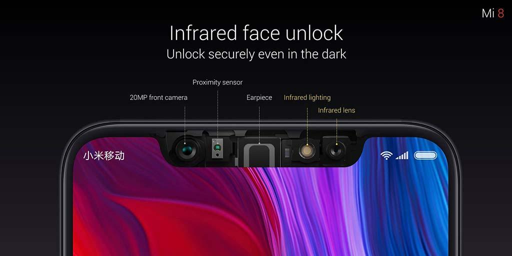 Монобровь Xiaomi Mi 8 с датчиками для распознавания лица