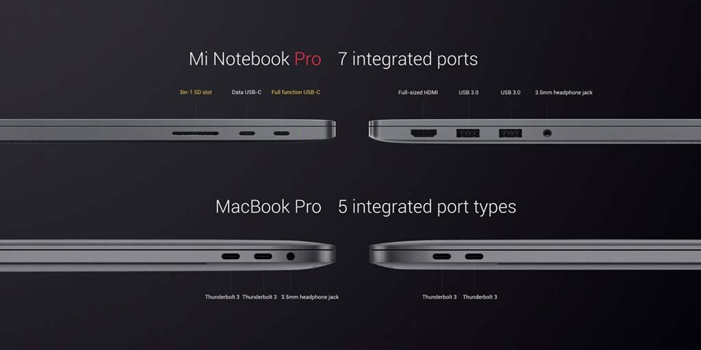 Xiaomi Mi Notebook Pro больше портов чем у Apple MacBook Pro